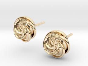 Pinwheel Flower Stud Earrings in 14k Gold Plated Brass