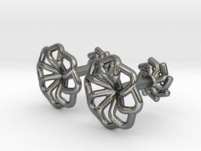 Wire Star Cufflinks in Polished Silver