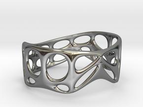 Voronoi Wire Bracelet (001d) in Fine Detail Polished Silver
