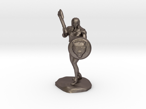 Wandacea, the Barbarian with Sword and Shield in Polished Bronzed Silver Steel