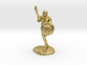 Wandacea, the Barbarian with Sword and Shield in Natural Brass