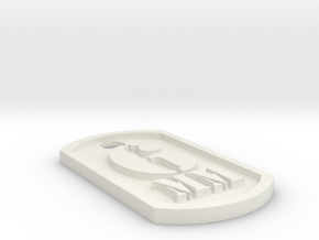 Airsoft '6mm' Themed Dog Tag in White Natural Versatile Plastic