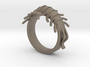 Millipede Ring 17mm in Matte Bronzed-Silver Steel
