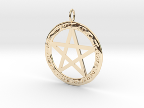 Pentacle pendant - Goddess chant in 14K Yellow Gold