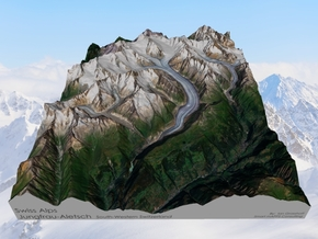 Swiss Alps, Jungfrau-Aletsch Map in Matte Full Color Sandstone