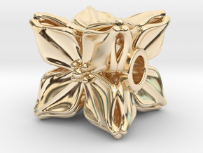 Floral Bead/Charm - Cube in 14k Gold Plated Brass
