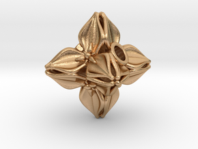 Floral Bead/Charm - Octahedron in Natural Bronze