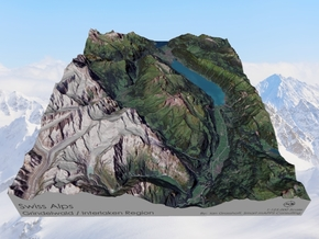 Swiss Alps, Interlaken / Gindelwald Map in Matte Full Color Sandstone