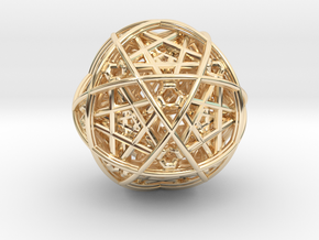 Hedron star inside sphere blue black  in 14k Gold Plated Brass
