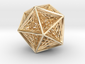 Icosahedron collapsing axis in 14k Gold Plated Brass