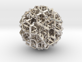 Hedron star Family Version 3 in Rhodium Plated Brass