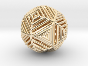 Cube to octahedron transition Version 2 in 14k Gold Plated Brass