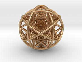 Scaled arrayed star hedron inside sphere in Natural Bronze