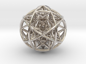 Scaled arrayed star hedron inside sphere in Rhodium Plated Brass