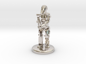Battle Droid 20mm scale (25mm tall) in Rhodium Plated Brass
