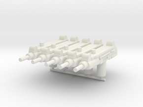 5x Uzi for 1:18 action figure in White Natural Versatile Plastic
