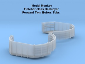 1/72 Fletcher class Forward Twin Bofors Tubs in Smooth Fine Detail Plastic