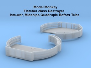 1/72 Fletcher Midships Quad Bofors Tubs in Smooth Fine Detail Plastic