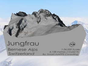 Jungfrau Map, Swiss Alps in Natural Full Color Sandstone