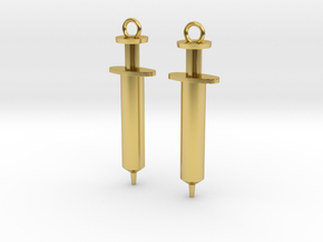 Syringe Earrings 2pc in Polished Brass