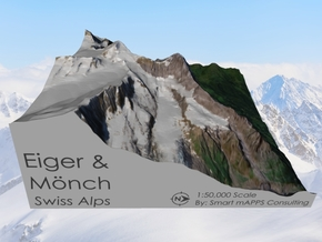 Eiger & Mönch Map, Swiss Alps in Natural Full Color Sandstone