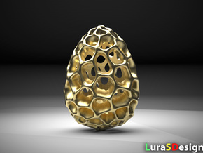 Lava Dragon Egg  in Polished Bronzed-Silver Steel