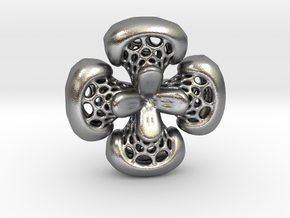 Sphericon Flower pendant in Natural Silver