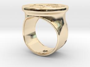Celtic cross signet ring in 14k Gold Plated Brass