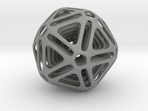 Nested Icosahedron in Gray Professional Plastic