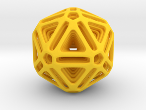 Nested Icosahedron for pendant in Yellow Processed Versatile Plastic