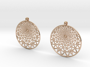 Grid Reluctant Earrings in 14k Rose Gold Plated Brass