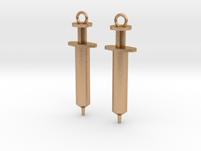 Syringe Earrings 2pc in Natural Bronze