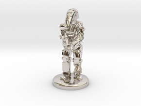 Battle Droid 20mm tall in Rhodium Plated Brass