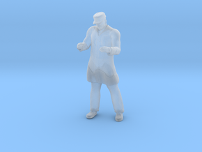 Man Standing: Long Coat & Cap in Smoothest Fine Detail Plastic: 1:64 - S