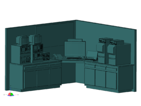 1/87 Scale Ham Radio Station Room in Smooth Fine Detail Plastic