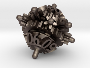 Clockwork Gears Dice in Polished Bronzed-Silver Steel: d00