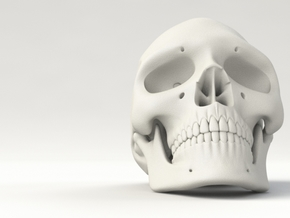 Realistic Human Skull (40mm H) in White Natural Versatile Plastic