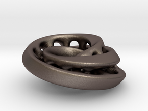 Nested mobius strip in Polished Bronzed-Silver Steel
