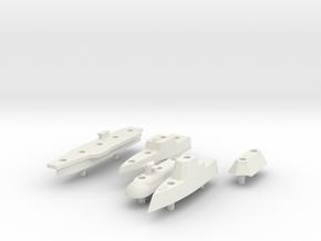 Battleship Game - Full Fleet of Custom Ships in White Natural Versatile Plastic