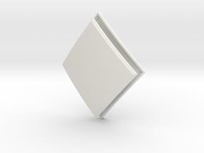 Diamond Lozenge (Framed) in White Natural Versatile Plastic: Small