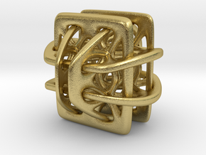 Borromean link nexus modified in Natural Brass