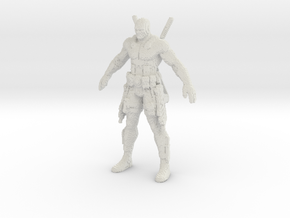 Deadpool voxelized in White Natural Versatile Plastic