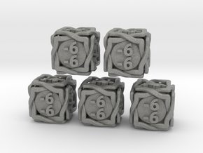 5 × 'Twined' D6 -1/-1 counters (14 mm) SOLID in Gray Professional Plastic