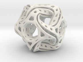Ported looped drilled  cube colored in White Natural Versatile Plastic