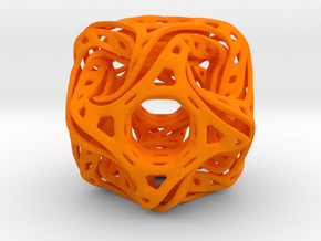 Ported looped drilled  cube pendant in Orange Processed Versatile Plastic