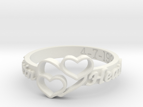 Anniversary Ring with Triple Heart - April 7, 1990 in White Natural Versatile Plastic