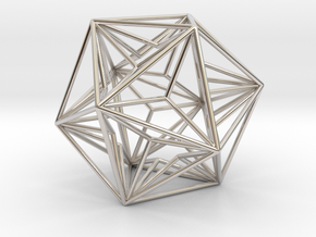 """Great Dodecahedron 1.6"""" in Rhodium Plated Brass"""