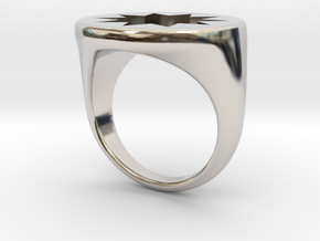 P O W E R Signet Ring - Large in Rhodium Plated Brass: 6 / 51.5