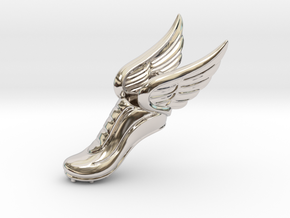 Mercury Winged Track Shoe Pendant in Rhodium Plated Brass