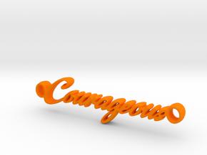 Courageous Pendant - Vivid Colors in Orange Processed Versatile Plastic